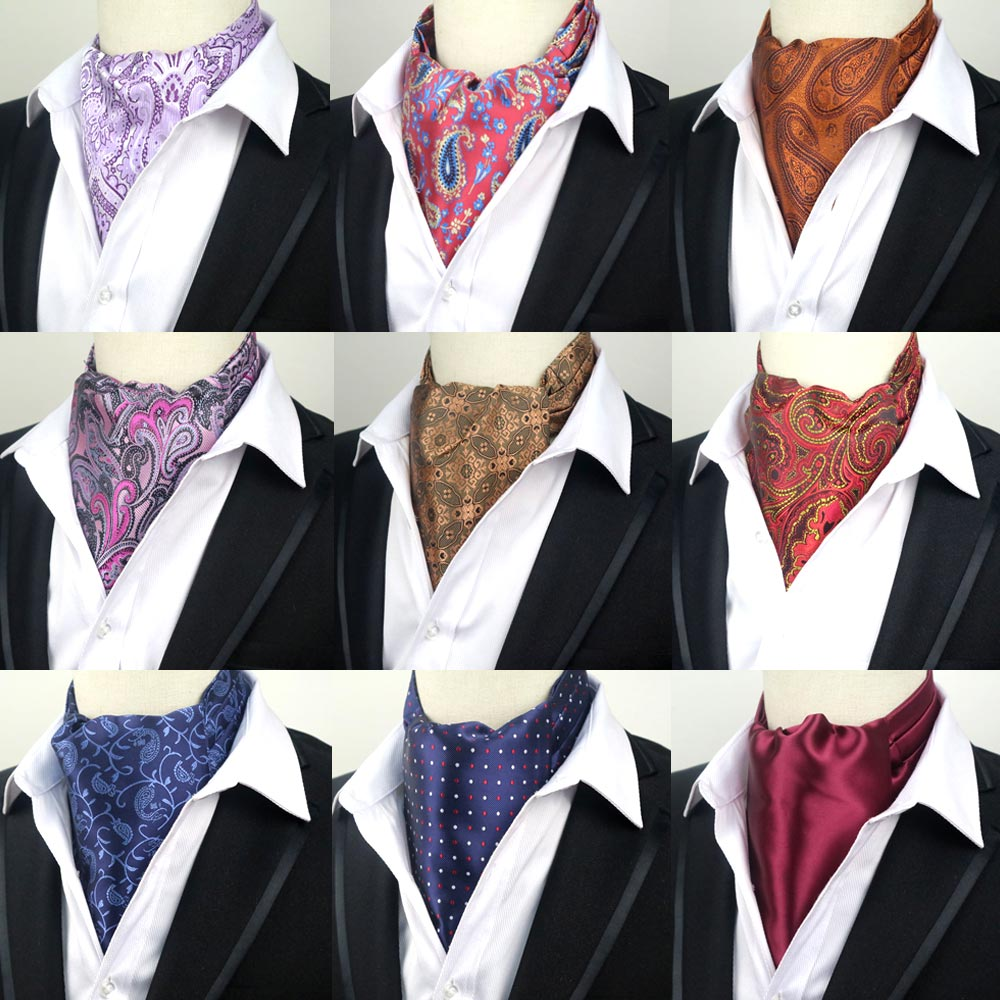 65 Colors Men's Dot Floral Solid Paisley Vintage Formal Cravat Ascot Tie Gentleman Self Tied  Polyester Silk Neckties Wedding