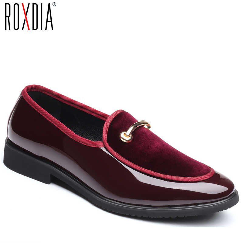 ROXDIA brand plus size 39-48 men wedding flats fashion flock formal  business pointed toe d46349d724ec