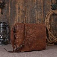 Nesitu High Quality Vintage Vagetable Tanned Genuine Leather Women Men Messenger Bags Real Skin Man Shoulder Bag #M9034