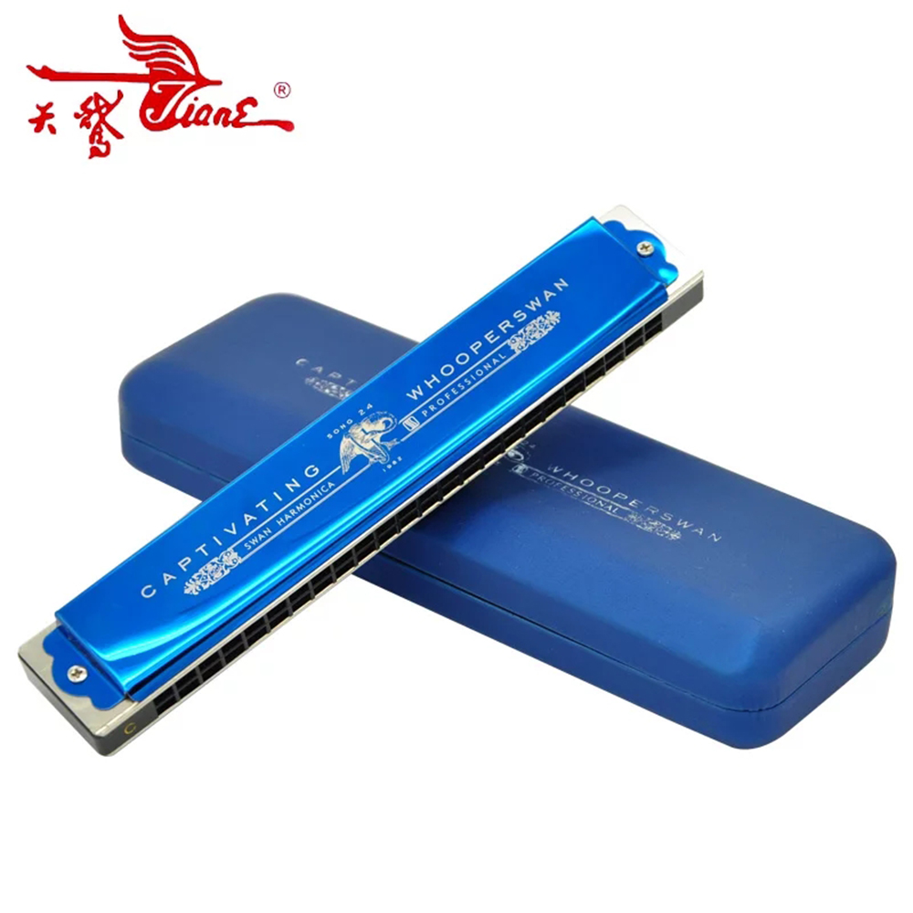 Swan Tremolo 24 Holes Harmonica Mouth Organ Key Of C Musical Instruments ABS Comb Silver Black Blue Professional Wind Wood Harpb