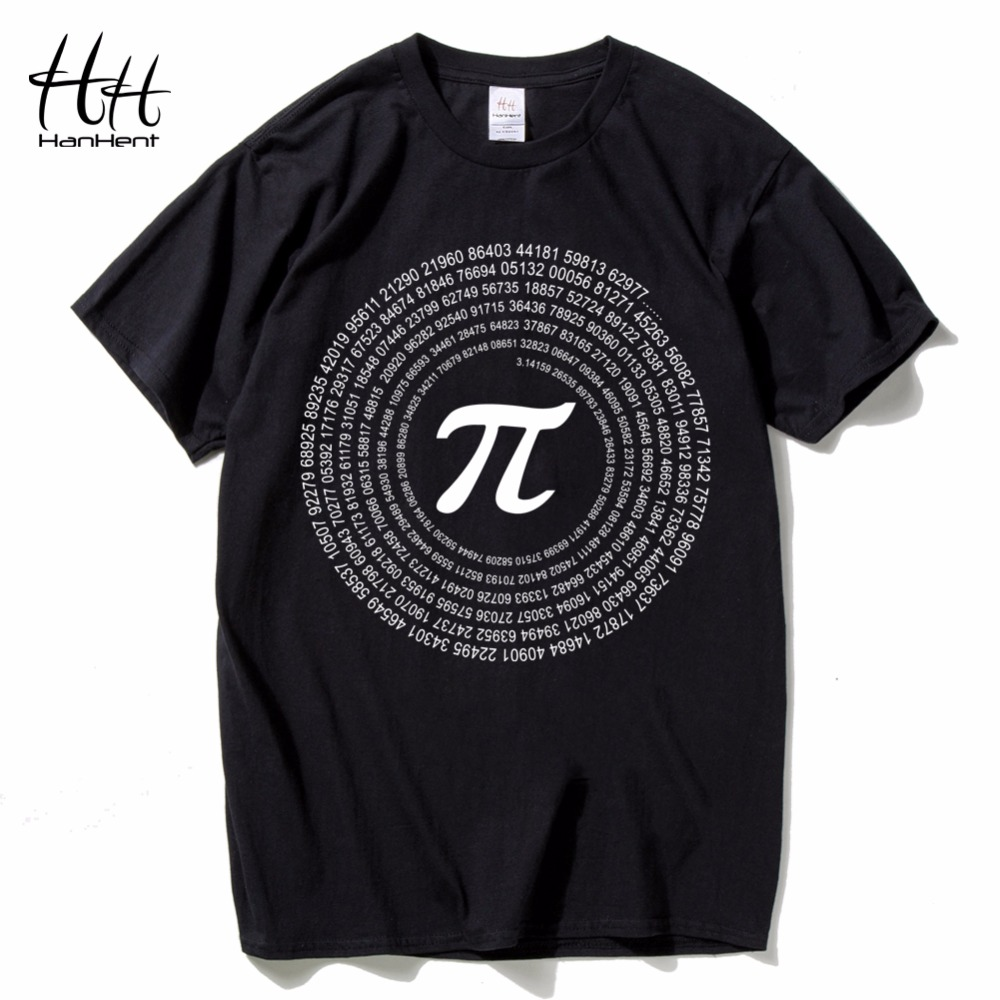 HanHent Novelty Pi Math TShirts Men's Cotton Loose Short Sleeve Tee shirts Geek Style T shirt Nerd Casual Man's T-shirts Tops
