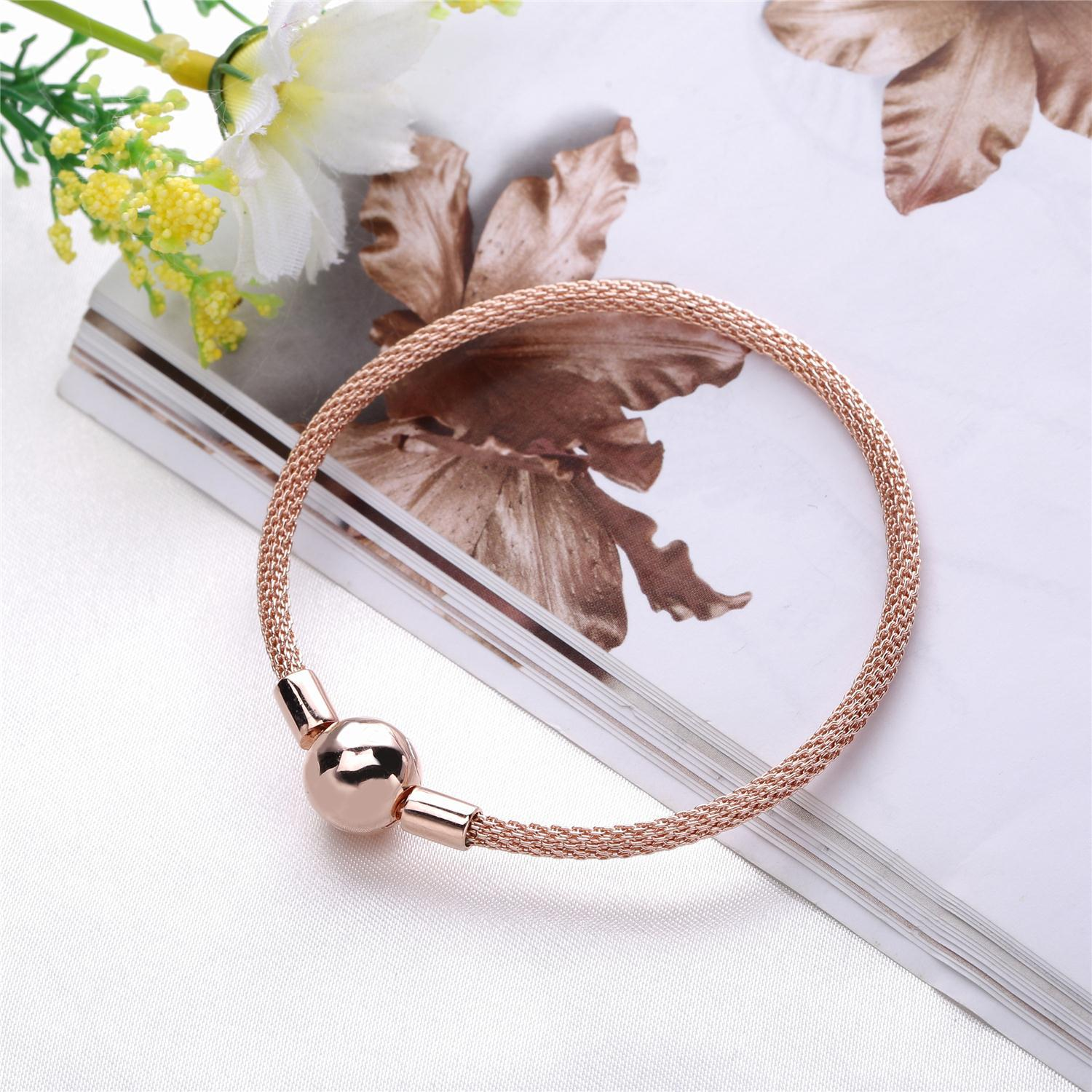 925 Sterling Silver Rose Gold Snake Chain Basic Ball Clasp Mesh