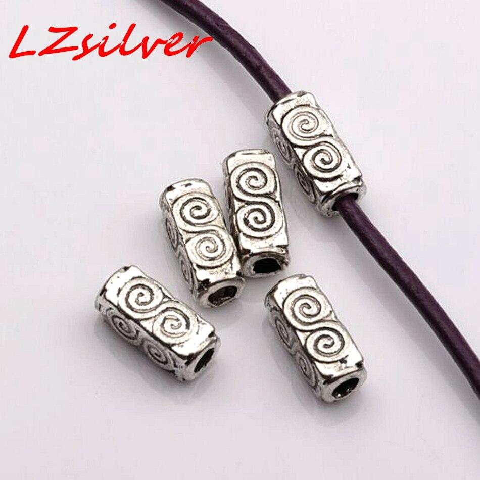 Hot Sale ! 100Pcs  Antique silver ZINC Alloy Swirl Rectangle Tube Beads 4.5mmx10.5mmx4.5mm D13