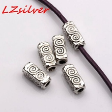 Hot Sale ! 100Pcs  Antique silver ZINC Alloy Swirl Rectangle Tube Beads 4.5mmx10.5mmx4.5mm D13
