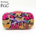 Gift Box 6 Colors Zoo Jungle Crystal Minaudiere Handbag Bridal Clutches Wedding Rhinestone Clutch Bags Evening Bag Purse Bolsa