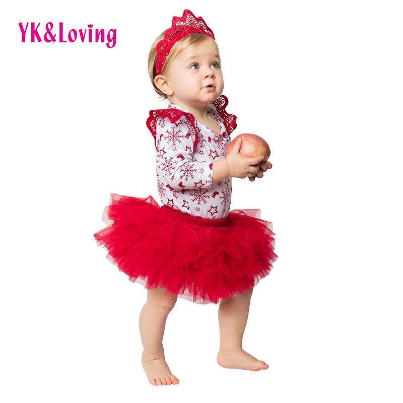 Red Snowflake Christmas Clothes Sets for 0-2 years old Baby Girls Long Sleeve Romper+Tutu Skirt Newborn 3Pcs New Xmas Clothing A new christmas baby clothing set girl cotton snowflake rompers ruffle tutu skirt headband 4pcs newborn clothes yk&loving