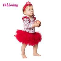 Rode Sneeuwvlok Kerst Kleding Sets voor 0-2 jaar oude Baby meisjes Lange Mouw Romper + Tutu Rok Pasgeboren 3 Stks Nieuwe Xmas Kleding een