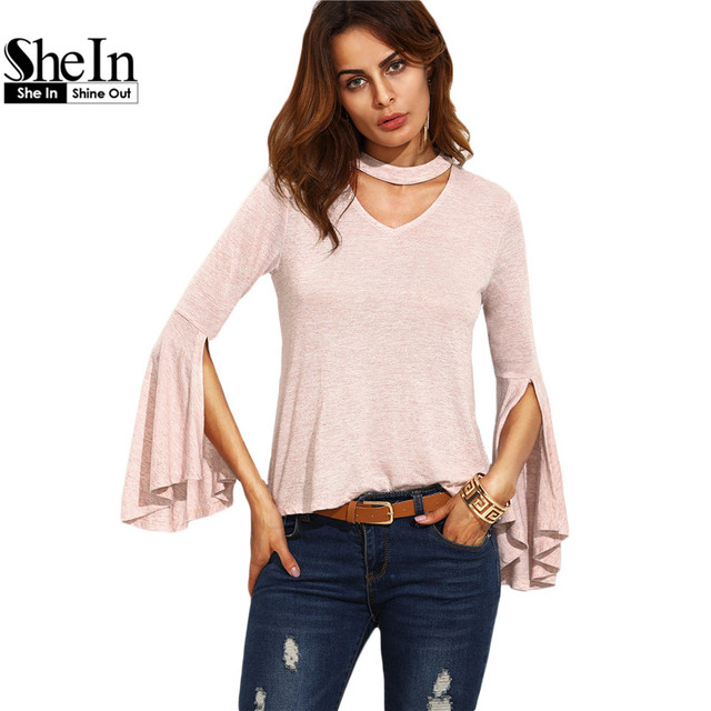 38a1805f96 SheIn Casual Ladies Tee Shirt For Autumn Womens Fall Tops Plain Pink Cut  Out V Neck