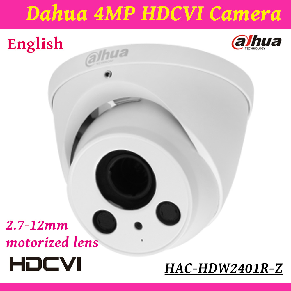 Dahua Outdoor/Indoor HDCVI Camera HAC-HDW2401R-Z 4mp HD Network security cctv Dome Camera IR distance 60m 2.7-12mm motorized len dh hac hfw2221r z ire6 dahua original hd 1080p infrared night vision security camera ip67 audio cctv camera hac hfw2221r z ire6