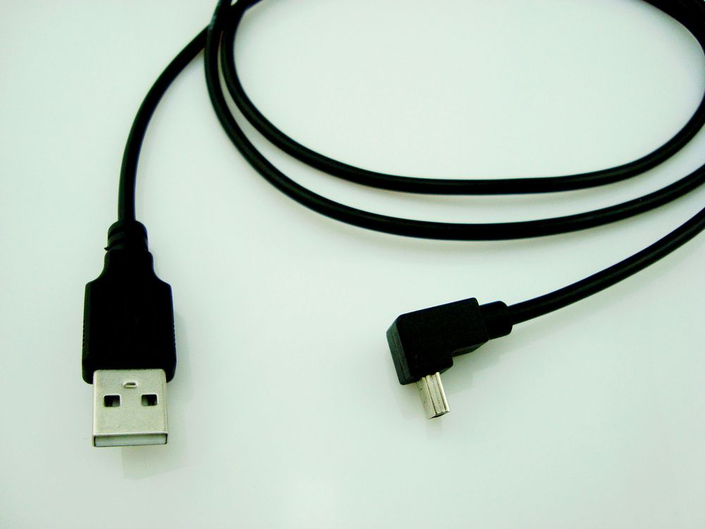 USB 2.0 A Male straight to MiniUSB mini usb Right Angle 90Degree down Cable 120cm Cord