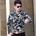 2015 nuevo estilo caliente del invierno hombres de la camisa de terciopelo grueso de manga larga camisa de impresión de flores
