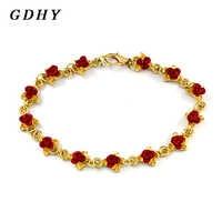 Fashion Rose Leaf Bracelet Red Rose Leaf Bracelet Flower Alloy Design String Bracelet For Women Jewelry Gift