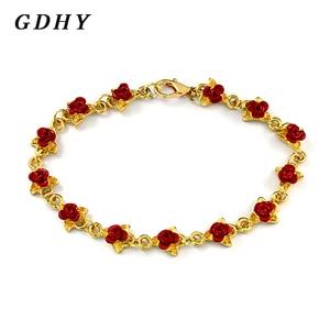 Fashion Rose Leaf Bracelet Red
