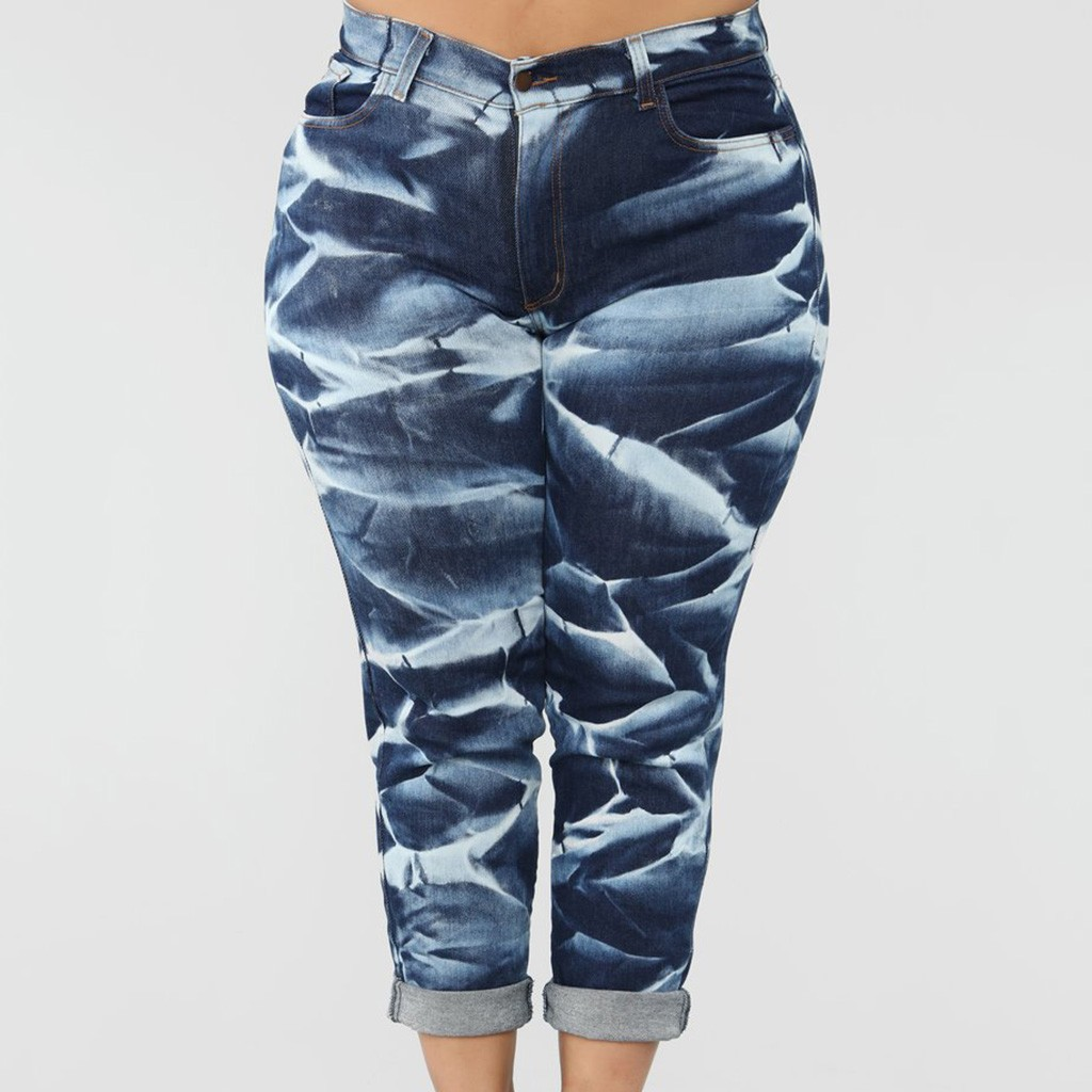 Women Summer Jeans Denim Female Wavy stripes Pockets Wash Denim Printing Jeans Skinny Camouflage Pencil Pants Plus Size
