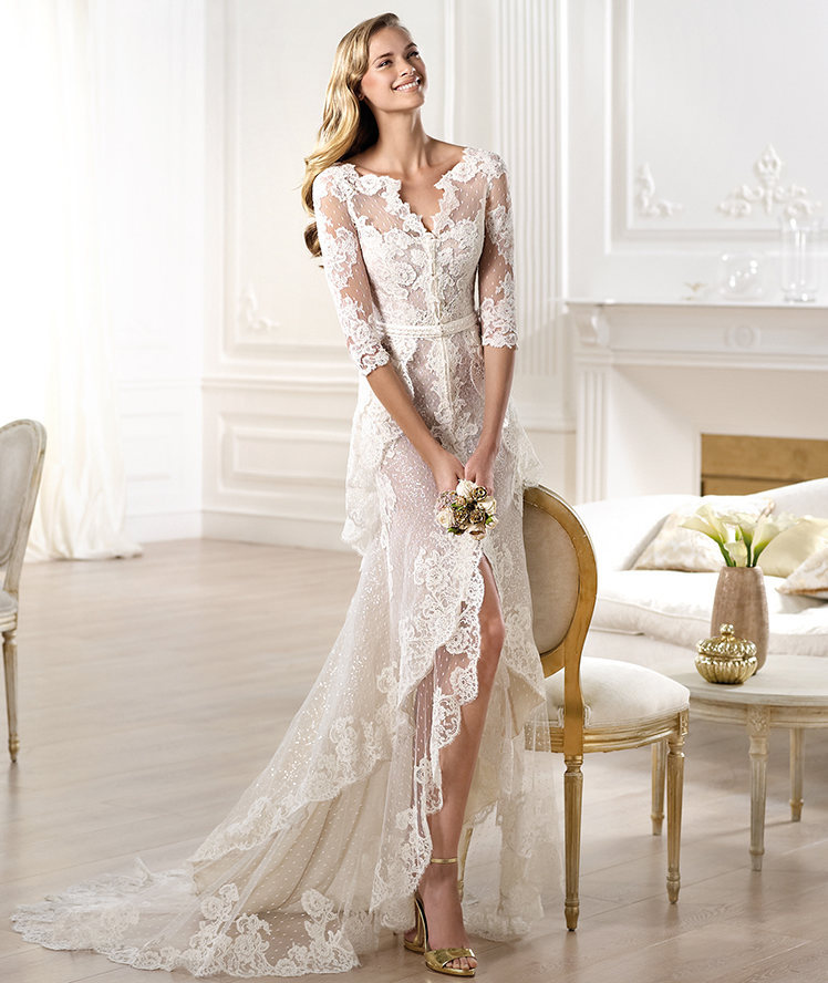 W3088 Romantic Off The Shoulder Side Slit Ivory Lace Half Sleeve Wedding Dress In Dresses From Weddings Events On Aliexpress