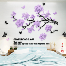 Home Decor Art DIY Wall Sticker Magnolia Flower Butterfly acrylic wall decoration sticker