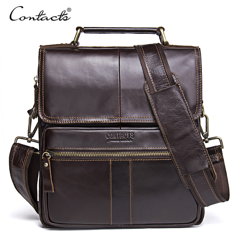 CONTACTS Casual Genuine Leather Men Messenger Bags With Zipper Pocket High Quality Shoulder Bag For Male Soft Crossbody Bags