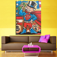 Canvas Painting Alec Monopoly Superman Poster For Graffiti Print On Canvas Street Art Home Decor Decorative