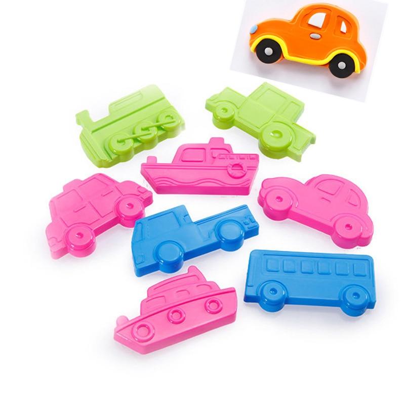 4cm Car Vehicle Mold 8pcs Mud Tool Set Impression Children Hand Plasticine Tool Birthday Gift Toys Fluffy Slime Sand Mould