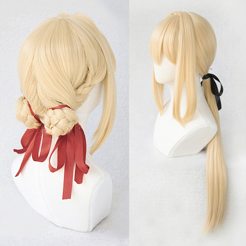 Violet Evergarden Ponytail Braid Buns Blonde Hair Heat Resistant Cosplay Costume Wig + Wig Cap + Ribbon