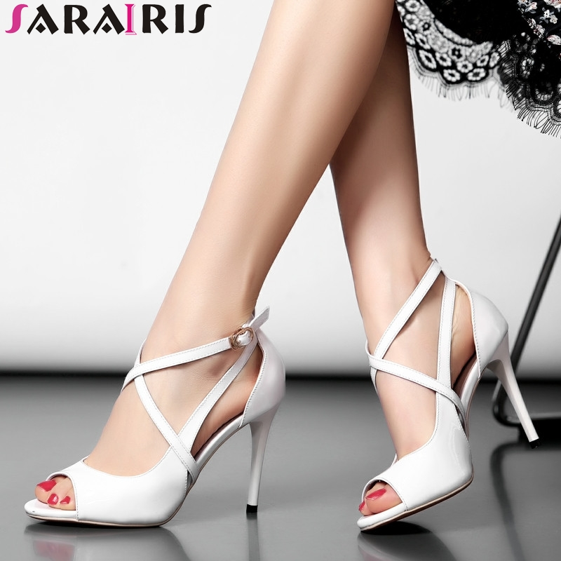 SARAIRIS 2018 Summer Women Fashion Patent Cow Leather Sandals Elegant Ol High Heels Shoes Woman Cool Lady Footwear