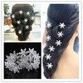 10 PCS Lot floco de neve charme brilhante claro strass cristal nupcial do casamento Prom cabelo pinos