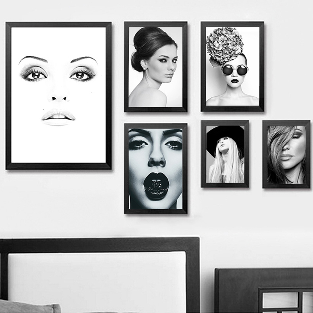 xdr026 Blanco y negro chicas sexy modernas lienzo pintura maquillaje - Decoración del hogar