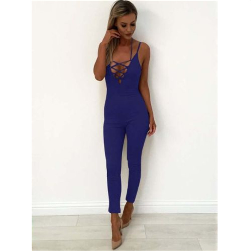 2017 Summer Rompers Womens   Jumpsuit   Sexy Ladies Casual Sleeveless Long Trousers Slim Solid   Jumpsuit