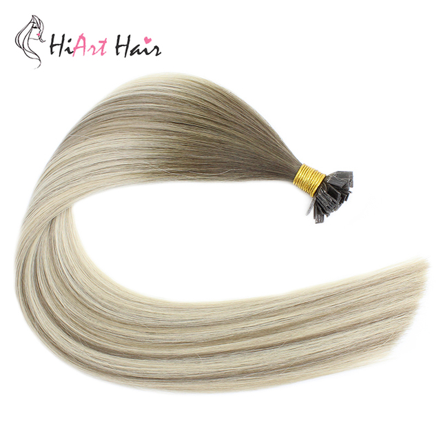 """HiArt 0.8g/pc Flat Tip Hair Extensions 100% Real Human Hair Balayage Double Drawn Salon Style Square Tip Hair Straight 18""""20""""22"""" 1"""