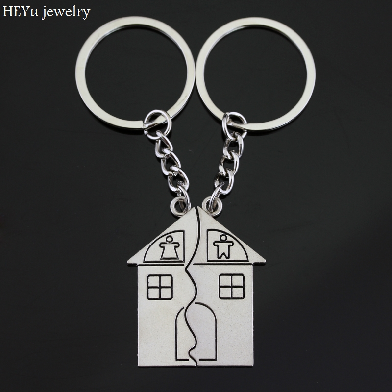 BTB JEWELRY NEW Arrive Romantic Silver Plated Lovers Gift Couple Heart Keychain Fashion Keyring Fob Creativ DIY There you have a home