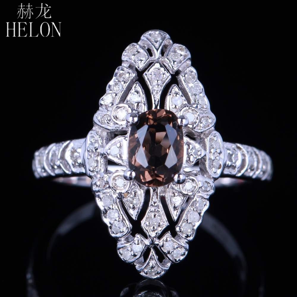 HELON Genuine Smokey Quartz 7x5mm Oval Solid 10k White Gold Art Deco Vintage Antique Real Diamonds Engagement Wedding Fine Ring цена
