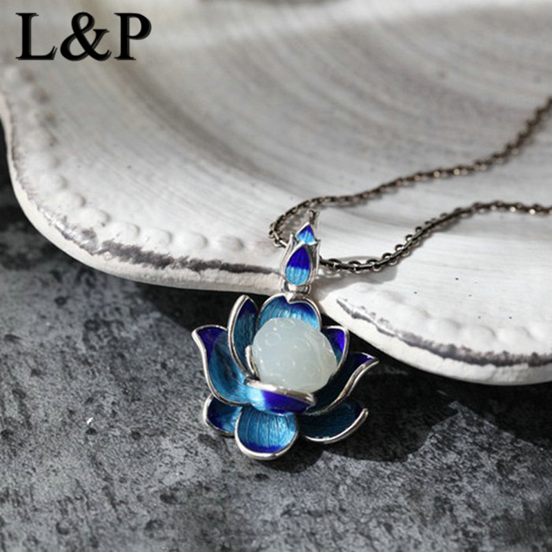 L&P Elegant Natural Gemstones Pendant Charms For Women,Featured Design Jade Thai Ethnic tyle Cloisonne Silver Necklaces Retro