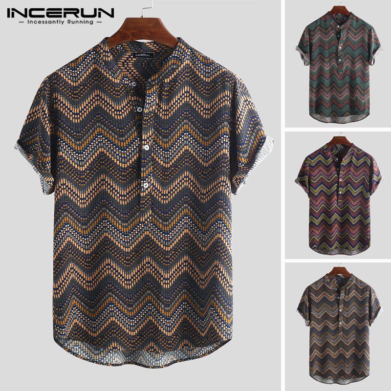 INCERUN Print Men Hawaiian Shirt Stand Collar Camisa 2019 Short Sleeve Button Up Tops Vintage Casual Shirts Men Streetwear S-5XL