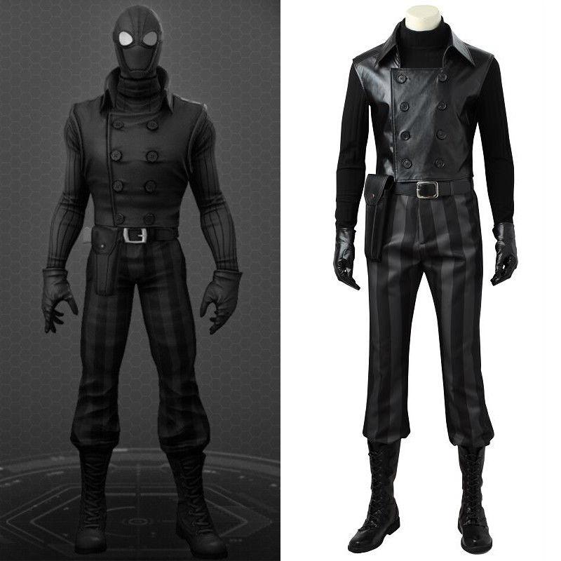 Spider-man Costume Noir Cosplay Noir veste en cuir super-héros tenue accessoires Halloween fête adulte hommes accessoires sur mesure