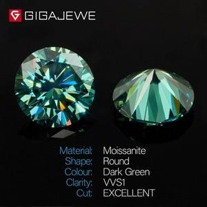 Image 2 - Камни GIGAJEWE с муассанитом карат, круглый темно зеленый лабораторный бриллиантовый камень для самостоятельного изготовления ювелирных изделий, подарок для девушки