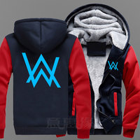 New DJ Alan Walker Hoodie Coat Jacket Winter Men Thick Zipper Sweatshirt