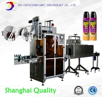 automatic bottle film shrinking machine line,metal glass bottle sleeve labeling machine line with electricity tunnel oven CE