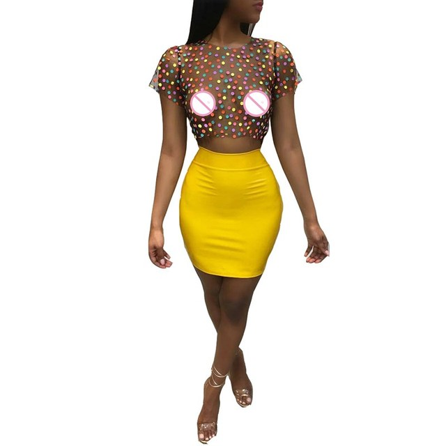 8aa0a068d48 2018 Women Sexy 2 Piece Set Polka Dot Mesh Crop Top And Mini Skirt Sets Two  Piece Skirt Sets Club Party Summer Outfits