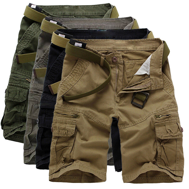 2018 Summer Cargo Shorts Men Summer Cotton Army Green Loose Short Comfortable Multi-pocket Men Cargo Shorts Plus Size Naroface
