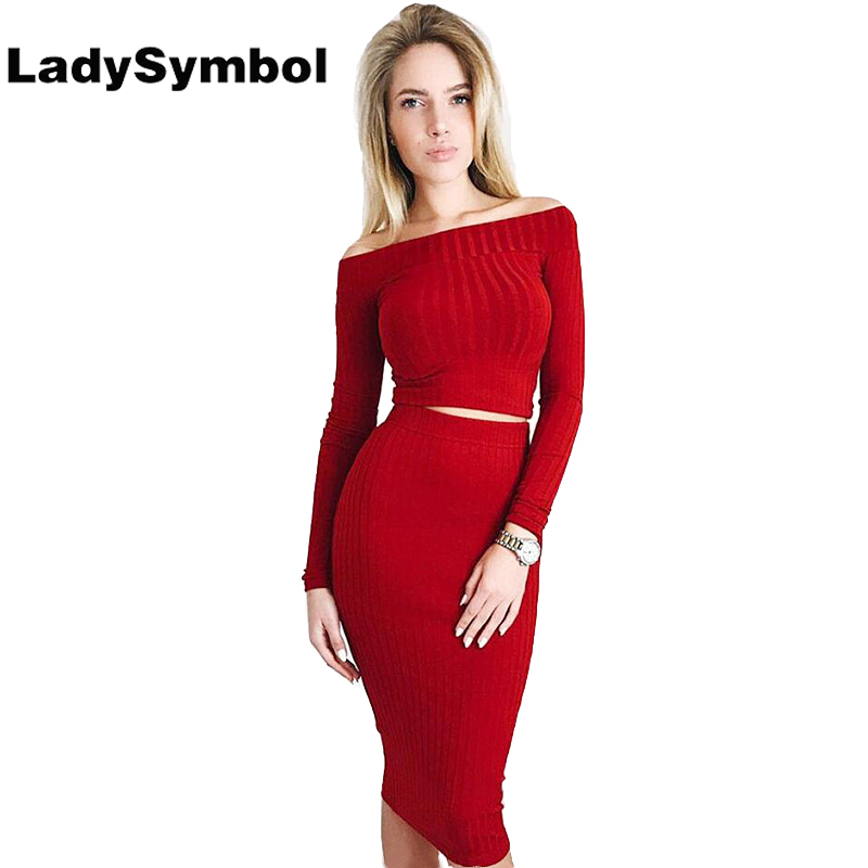 LadySymbol Autumn Knitted Off Shoulder Sexy Bodycon Dress Women Two Piece Suit Long Sleeve Elastic Red