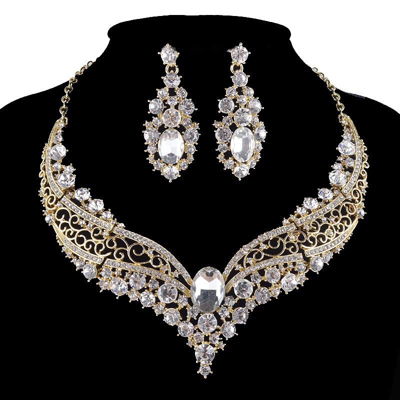 india style golden color Bridal wedding jewelry sets rhinestone glass necklace and earrings set Women Party Prom pageant jewelry rhinestone glass ball dry sakura earrings