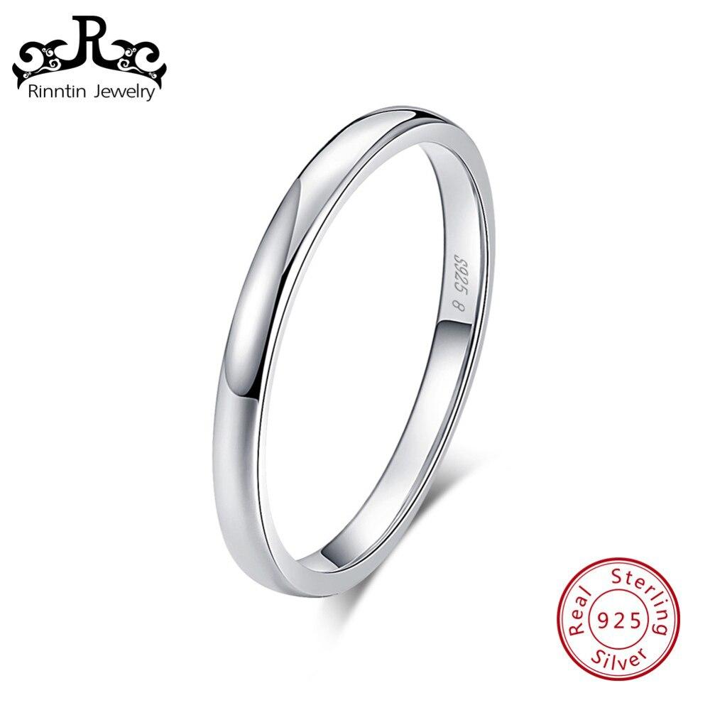 e608ad24995 Rinntin Real 925 mujeres de plata esterlina anillos de dedo pulido redondo  Simple banda de boda de joyería femenina TSR74
