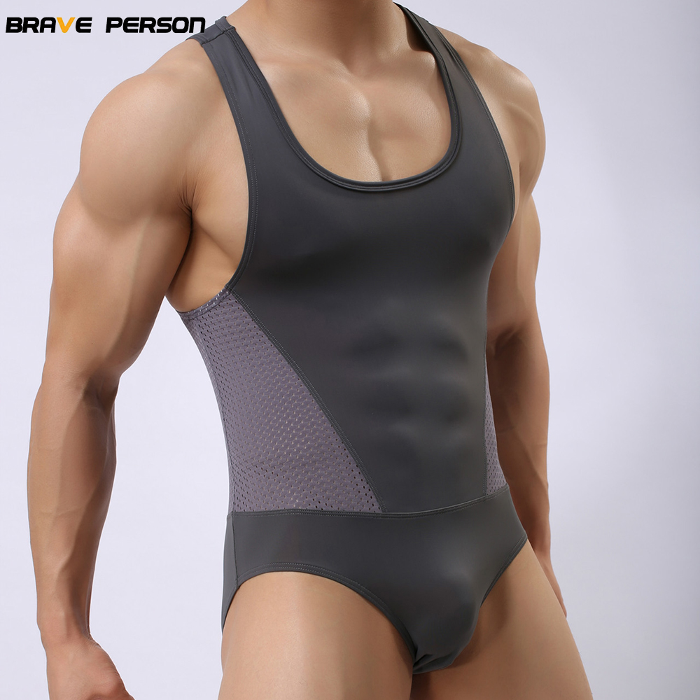 Brave Person Brand Male Underwear Shapers Men's Leotard Bodysuits Tight Suits Body Elastic Building Men Singlet High Quality New