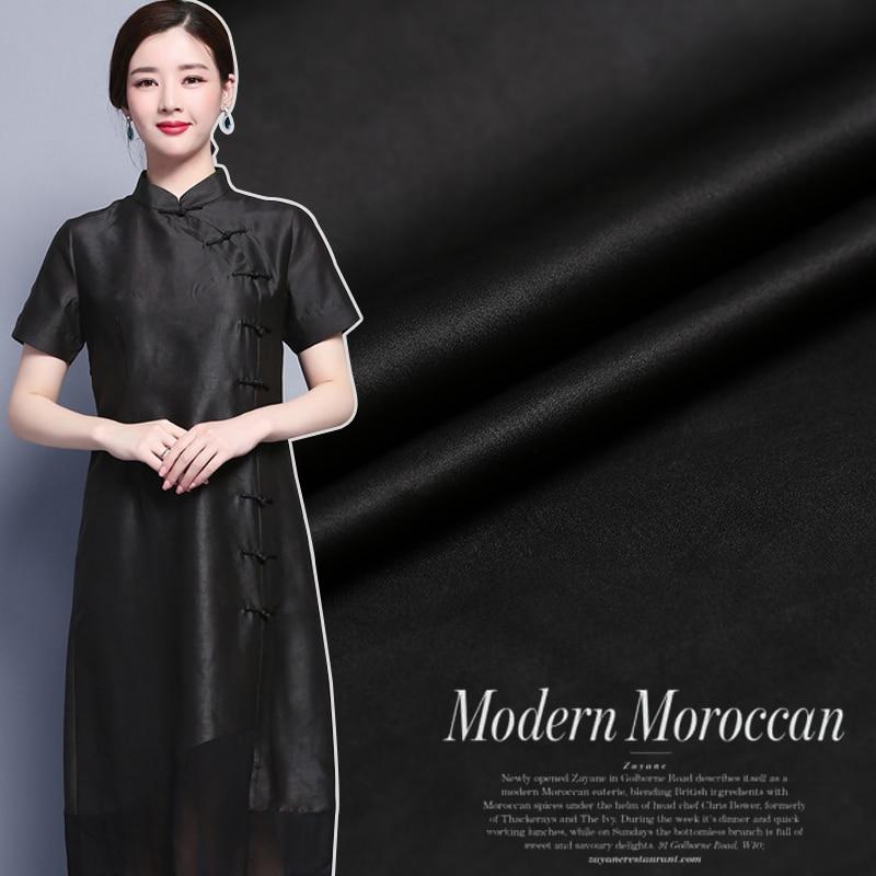 Shunde handmade pure black silk natural satin Watered gauze fabric for dress shirt cheongsam tissu au meter bright cloth DIY