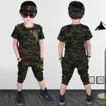 JENYA 2017 new summer boys fashion clothing set camouflage clothes O-neck striped short+striped shorts sports issue