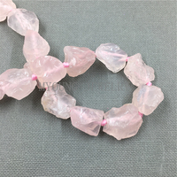 MY0094 Ruw Geknoopt Natuurlijke Nugget Ruwe Roze Crystal Quartz, Brilliant Rose Punt Quartz Geboord Kralen 15.5 ''Een Streng