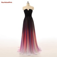 Gradient Ombre Long Prom Dresses 2017 Strapless Chiffon Evening Dress With Pleats Colorful Women Prom Dress