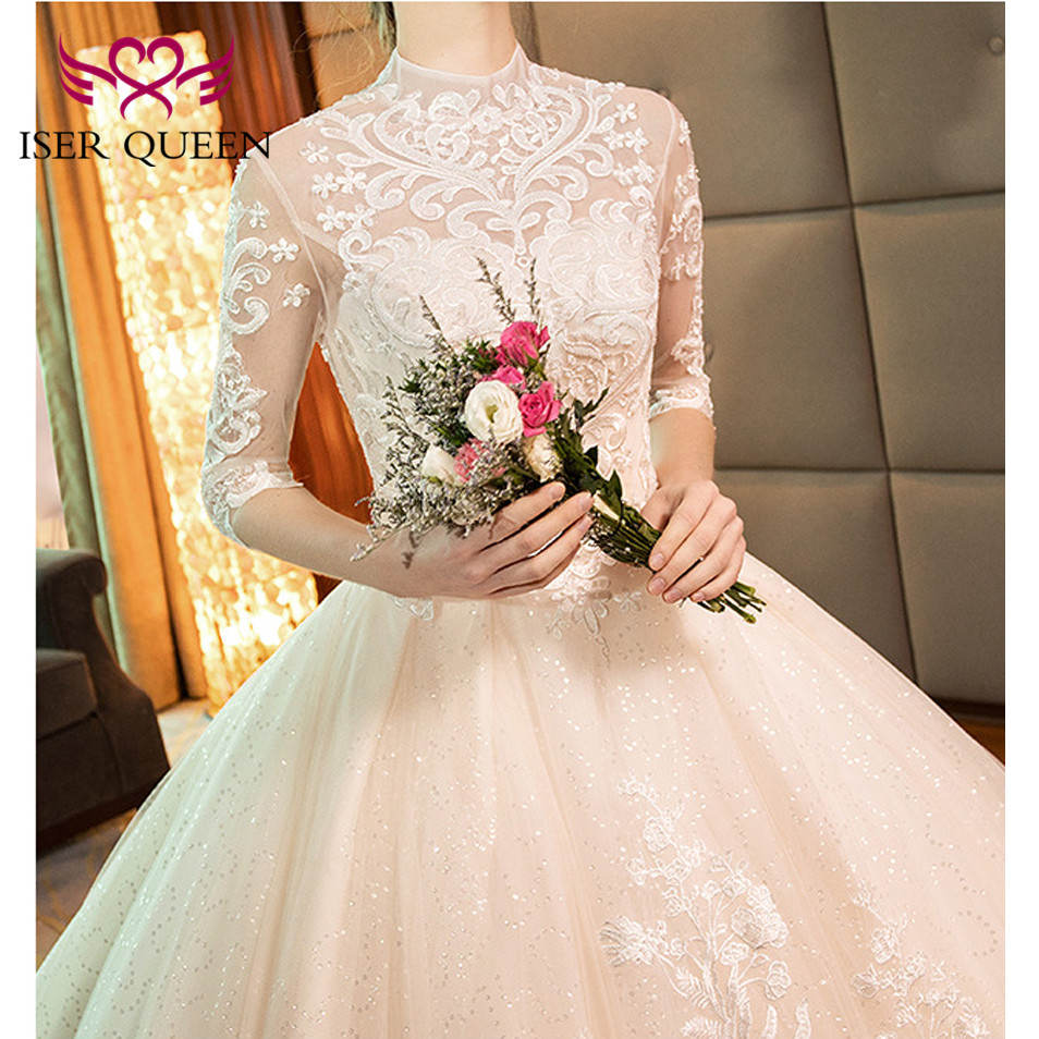 Image 5 - High Neckline Illusion Vintage Half Sleeves Fancy Embroidery Wedding Gown Sequined Backless Hollow Ball Gown Train Tulle WX0160-in Wedding Dresses from Weddings & Events