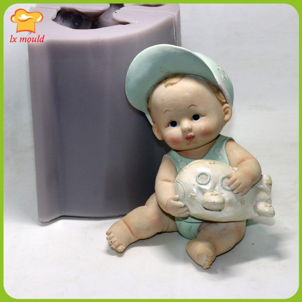 LXYY2016 Belle gros bébé silicone moule résine poupée de silice gel moule chapeau garçon bougie silicone moule