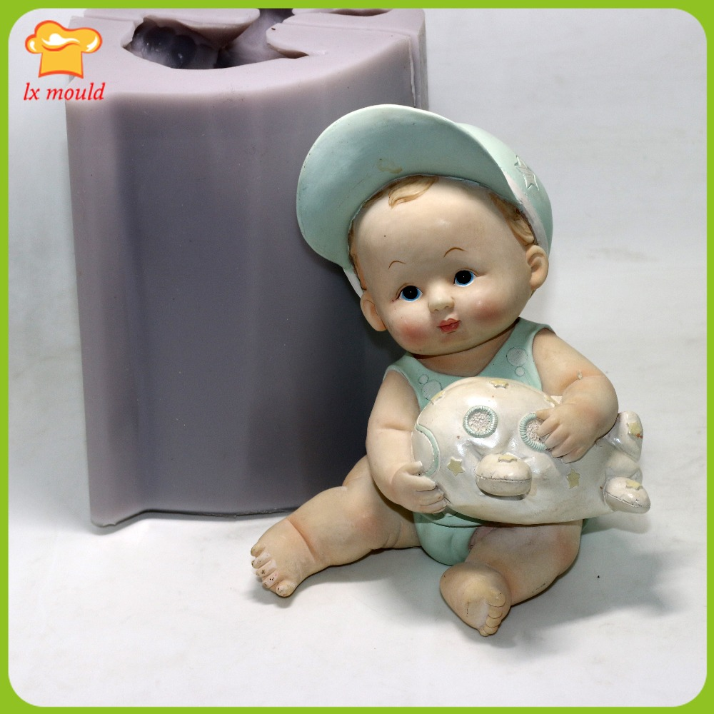 LXYY2016 belle grand bébé silicone moule résine poupée gel de silice moule chapeau garçon bougie silicone moule